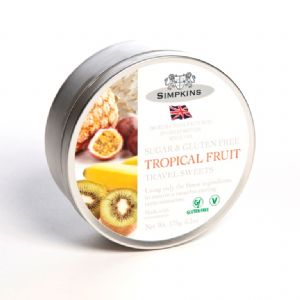 Tropical Fruit Sugar & Gluten Free - Simpkins Traditional Travel Sweets Tin 175g